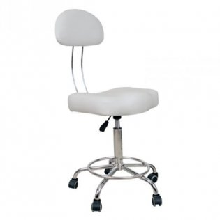 Adjustable Bar Stool with Back Support - White