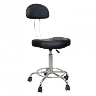 Adjustable Bar Stool with Back Support - Black
