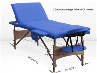 3 Section Portable Massage Table w/ Oil Holster �Navy