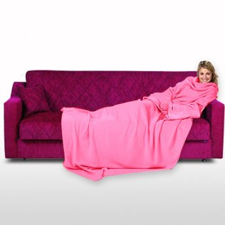 Soft Fleece Blanket With Sleeves - Pink