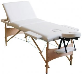 3 Fold Portable Massage Table - Wood White