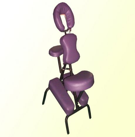 Portable purple massage therapy chair in healthlinemassage for Therapeutic massage chair reviews